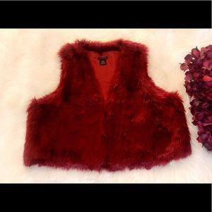 IMAN Red Faux Fur Vest